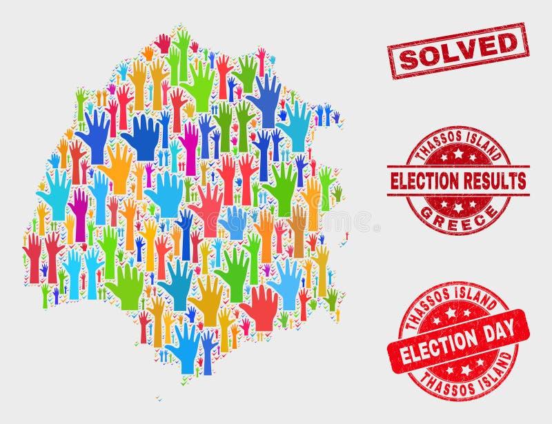 Collage der Wahl Thassos-Insel-Karte und des verkratzten gelösten Stempels stock abbildung