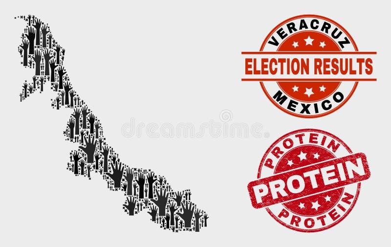 Collage der Wahl-Veracruz-Staats-Karte und des Schmutz-Protein-Stempelsiegels lizenzfreie abbildung
