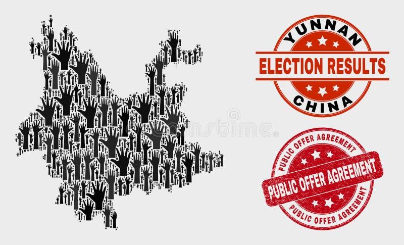 Collage der Wahl-Yunnan-Provinz-Karte und des Vereinbarungs-Stempelsiegels des Bedrängnis-öffentlichen Angebots lizenzfreie abbildung
