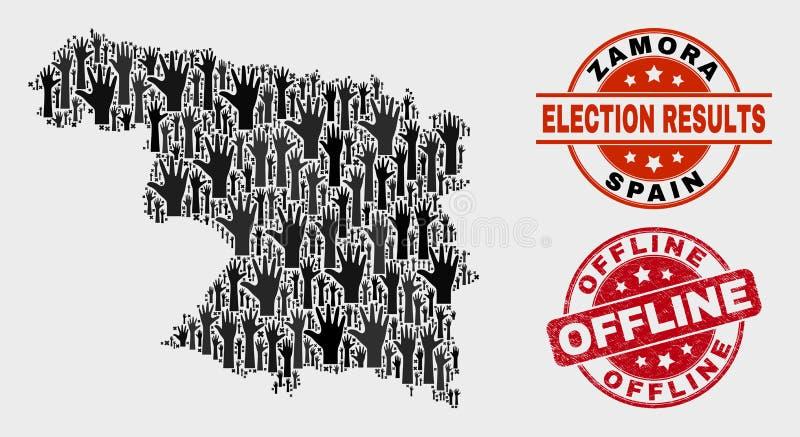 Collage der Wahl-Zamora-Provinz-Karte und der verkratzten Offlinedichtung stock abbildung