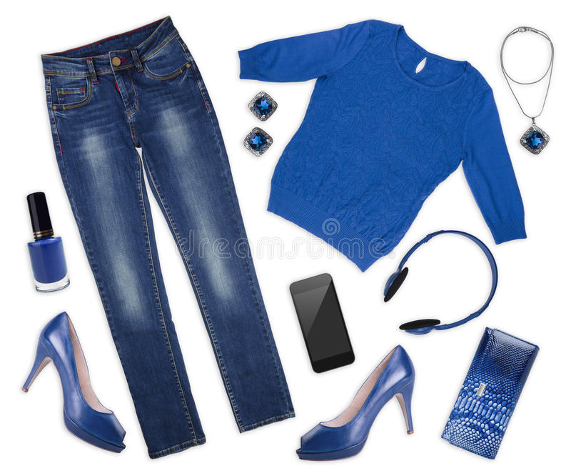 Collage der weiblichen Herbst Kleidung und assessories auf Weiß lizenzfreies stockbild