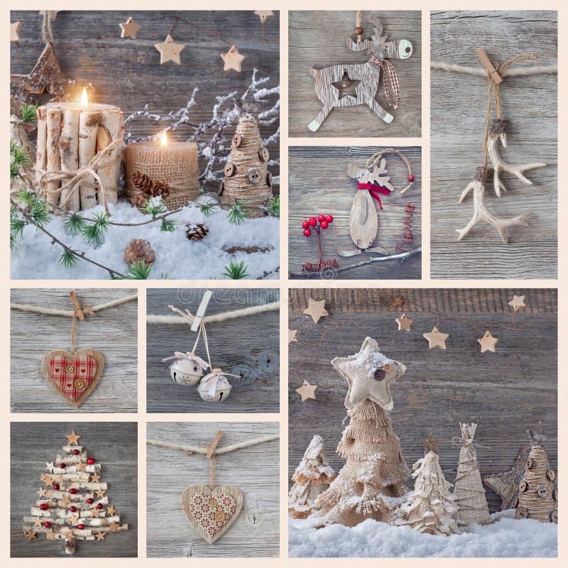 Collage der Weihnachtsdekorationen stockfotografie