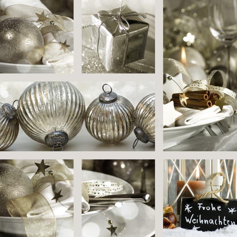Collage der Weihnachtsplatzeinstellungen stockbilder