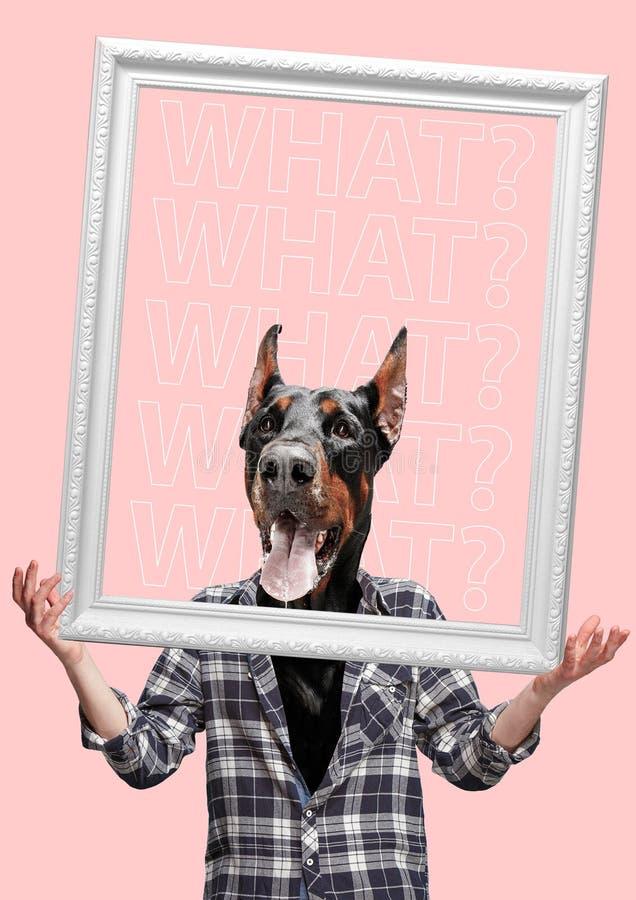 Collage der zeitgenössischen Kunst oder Porträt des überraschten Hund vorangegangenen Mannes Modernes Artpop-art zine Kulturkonze stockfoto