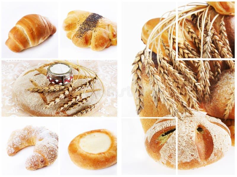 Collage der Zusammenstellung des gebackenen Brotes stockbilder