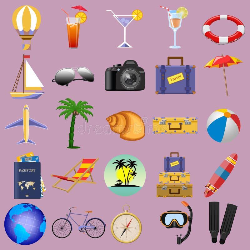 Collage des éléments pour le voyage sur un fond d'isolement photographie stock