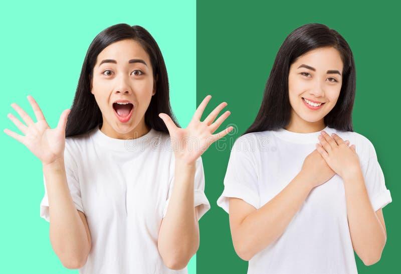 Collage des überraschten entsetzten aufgeregten asiatischen Frauengesichtes lokalisiert auf buntem Hintergrund Junges asiatisches lizenzfreies stockfoto