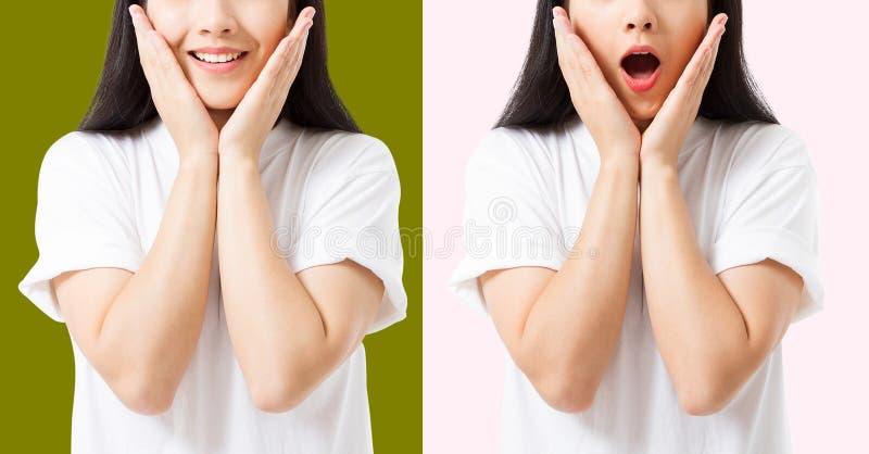 Collage des überraschten entsetzten aufgeregten asiatischen Frauengesichtes lokalisiert auf buntem Hintergrund Junges asiatisches stockfotos