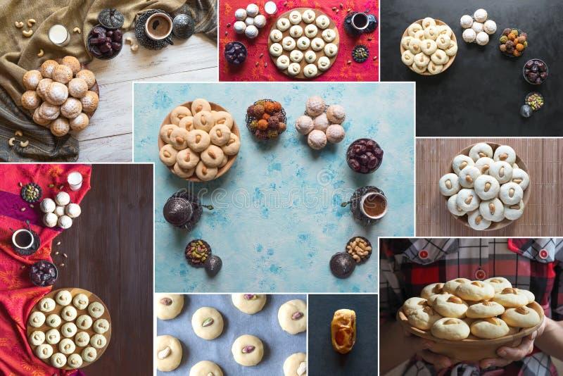 Collage des biscuits des bonbons islamiques à Ghorayeba de festin d'EL Fitr Fond de nourriture de Ramadan images libres de droits