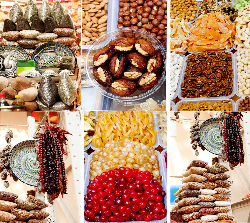 Collage des bonbons orientaux sur le marché photos stock