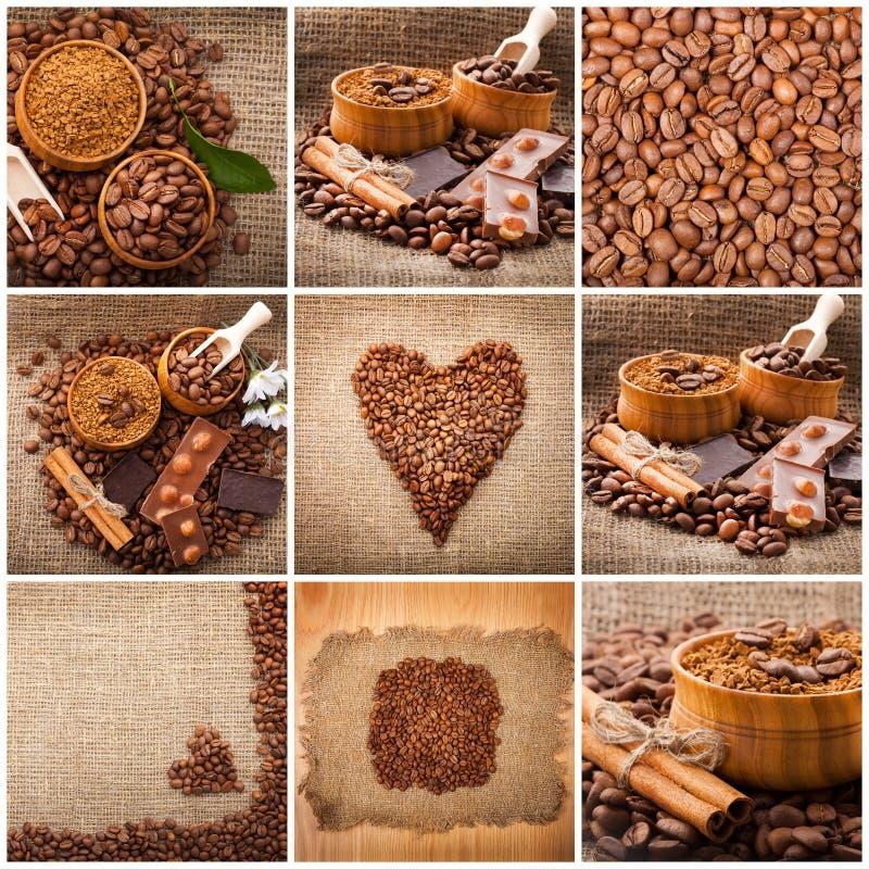Collage des détails de café Chocolat, cannelle, épices et grains de café dans la tasse et un lâche sur une table en bois position photographie stock libre de droits