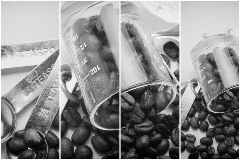 Collage des détails de café, ton de vintage de grains de café, fond d'oeuvre d'art photos libres de droits
