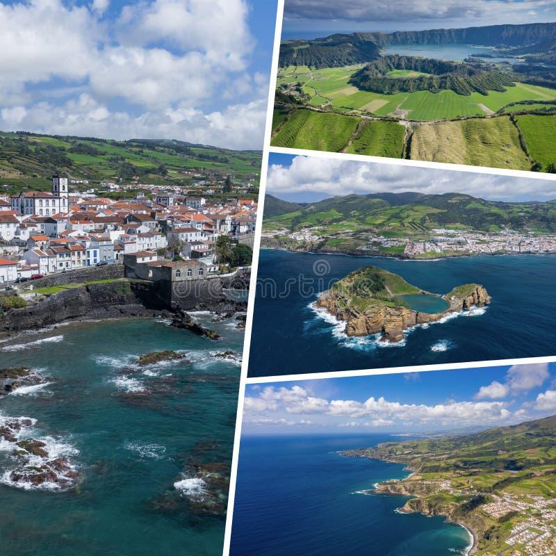 Collage des destinations de touristes populaires dans des îles des Açores portugal fond plus de ma course de portefeuille Silhoue image libre de droits