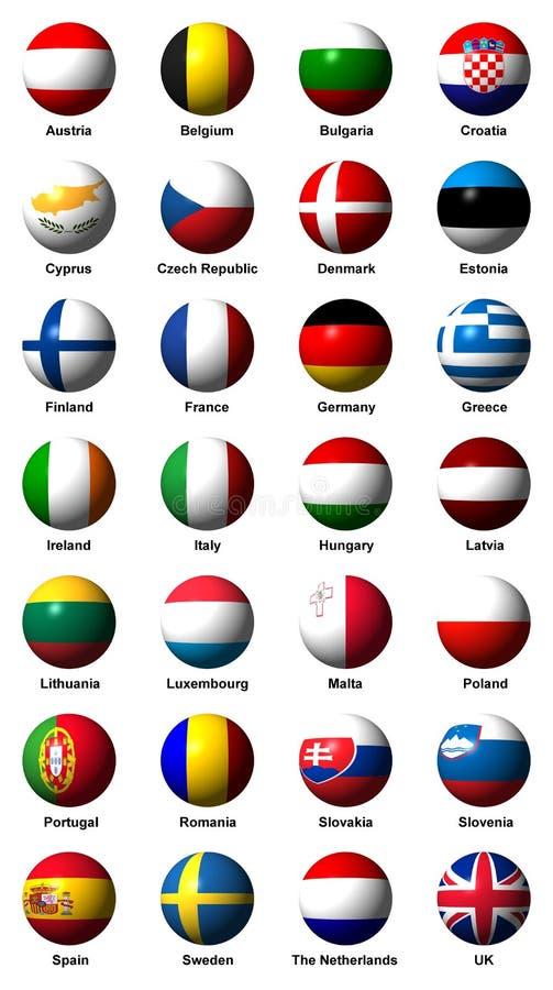 Collage des drapeaux de l'Union européenne avec des labels illustration stock