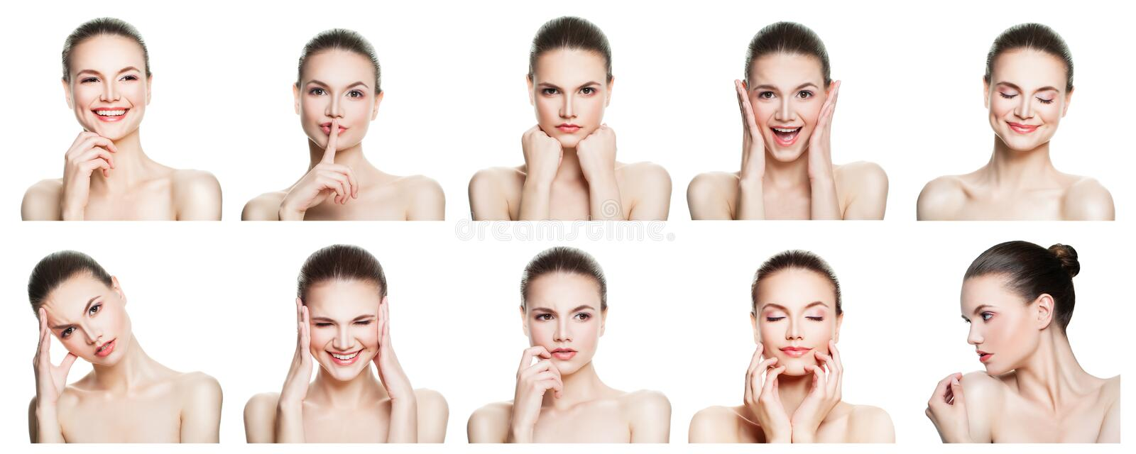Collage des expressions femelles négatives et positives de visage photographie stock libre de droits