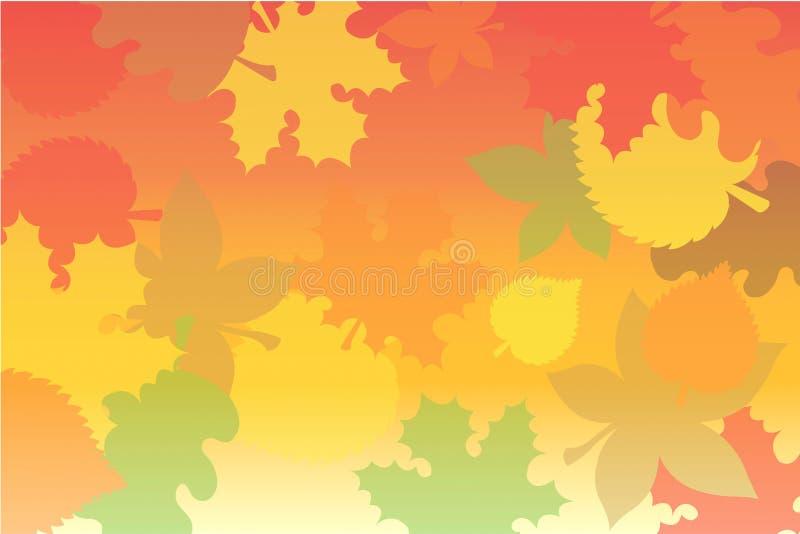 Collage des feuilles d'automne dans des couleurs jaunes, oranges et rouges illustration de vecteur