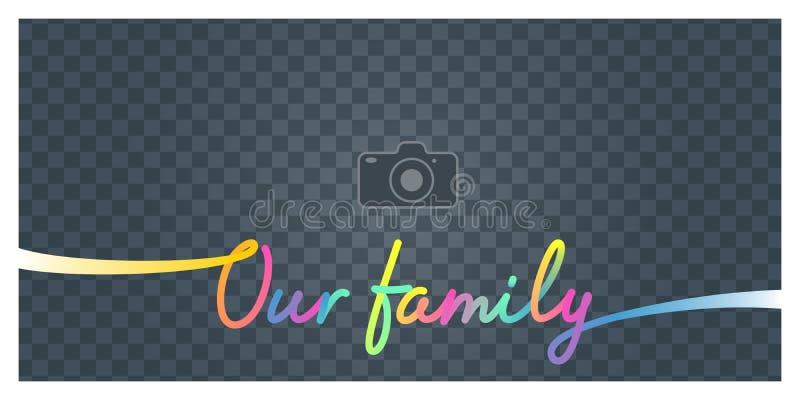 Collage des Fotorahmens und unsere Familienvektorillustration, Hintergrund unterzeichnen vektor abbildung