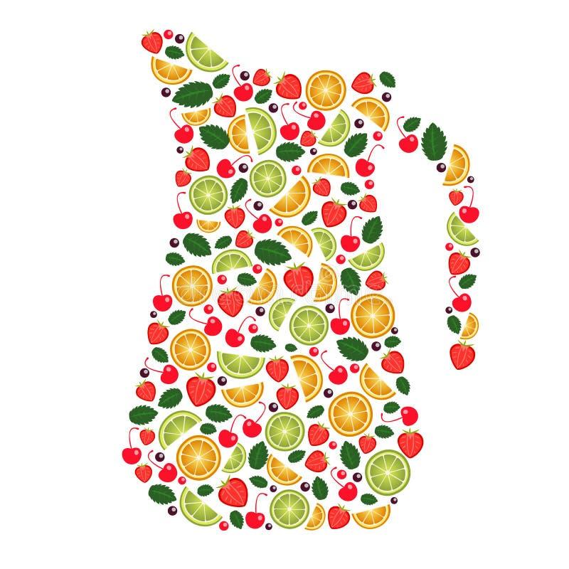 Collage des Fruchtansichtpitchers stock abbildung