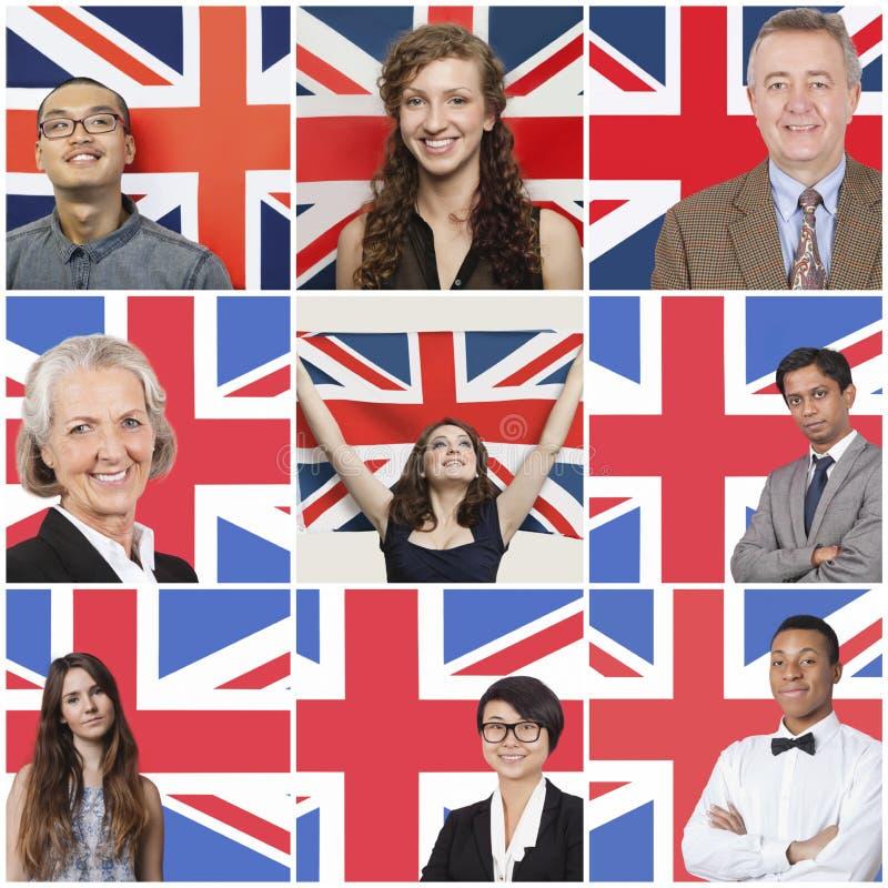 Collage des gens d'affaires se tenant contre le drapeau britannique photo libre de droits