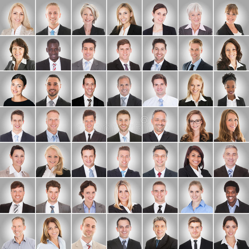 Collage des hommes d'affaires de sourire photographie stock