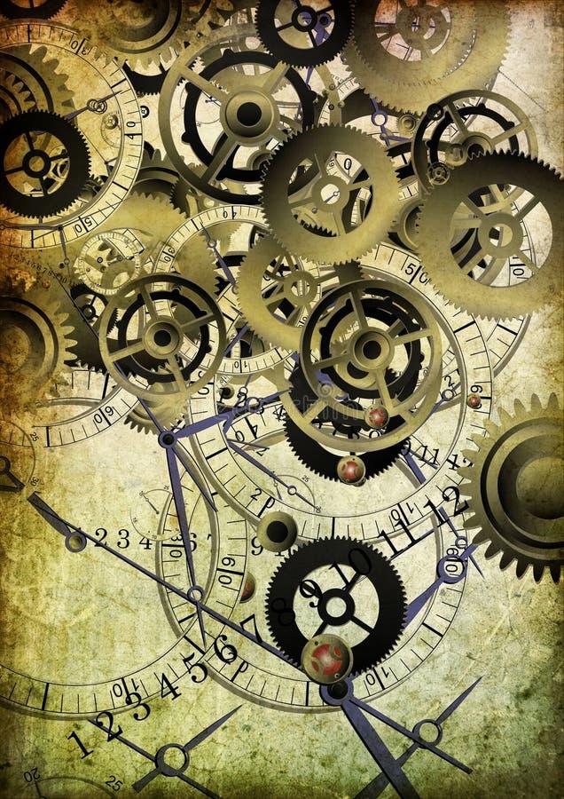 Collage des horloges sur le fond de cru illustration libre de droits