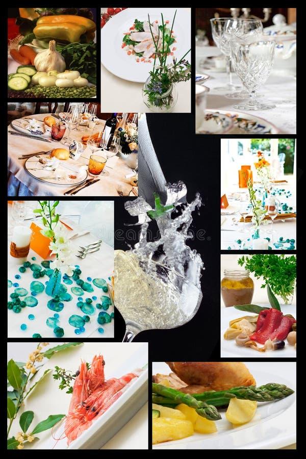 Collage des illustrations relatives de nourriture photos stock