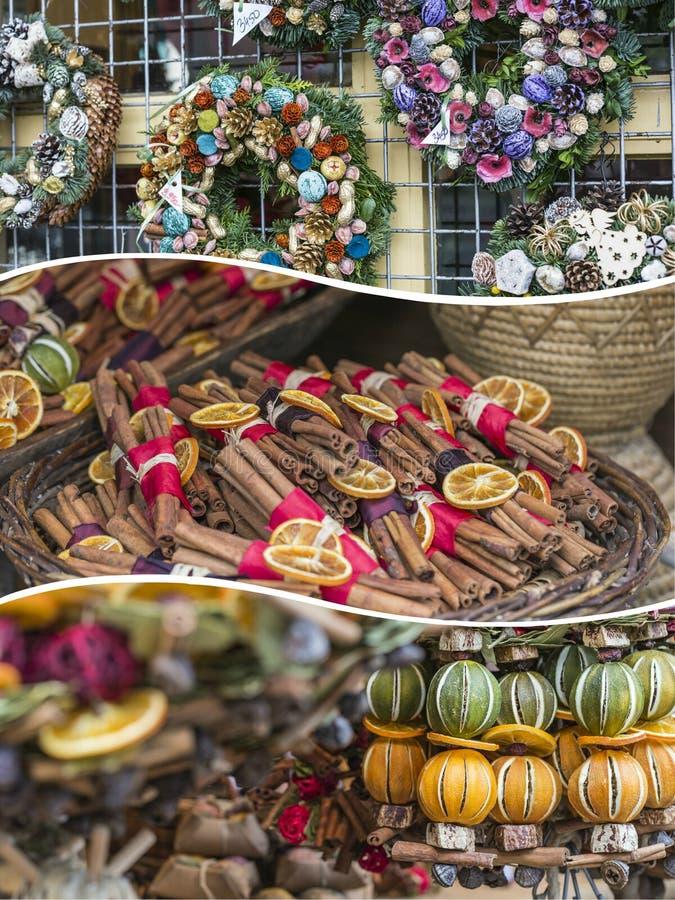 Collage des images du marché de Noël - fond (mes photos) images stock