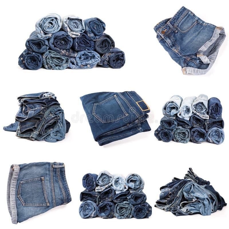 Collage des jeans d'isolement sur le blanc images libres de droits