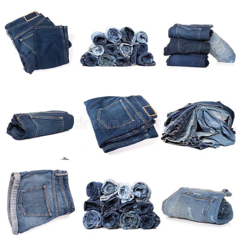 Collage des jeans d'isolement sur le blanc images stock