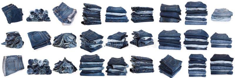 Collage des jeans d'isolement sur le blanc photo stock
