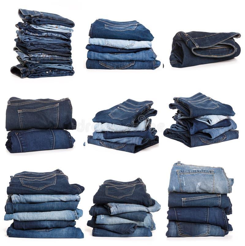 Collage des jeans d'isolement sur le blanc photos stock