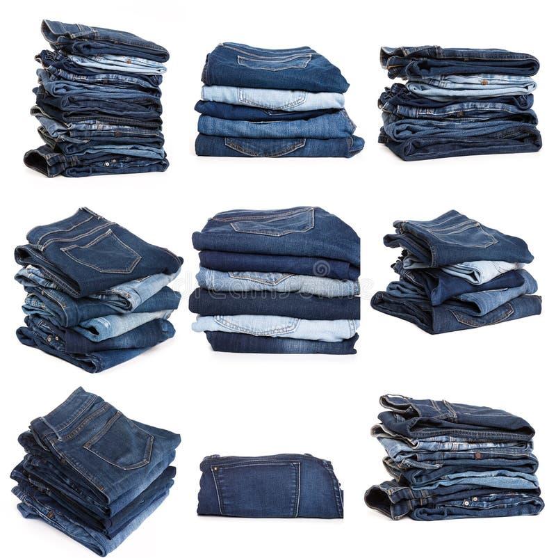 Collage des jeans d'isolement sur le blanc image stock