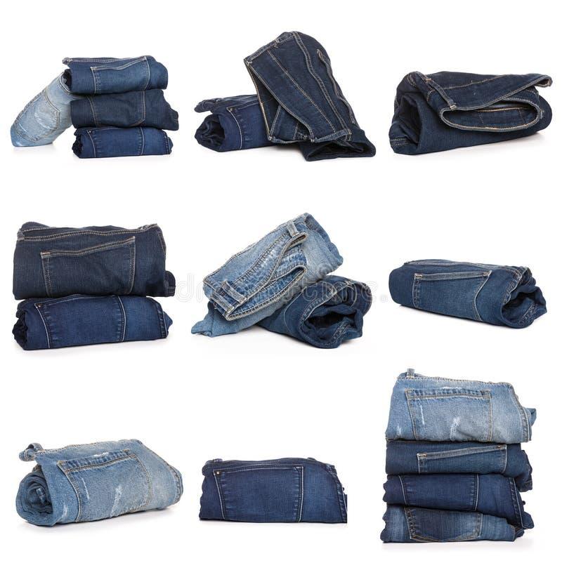 Collage des jeans d'isolement sur le blanc photos libres de droits