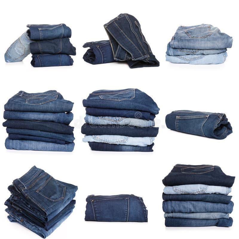 Collage des jeans d'isolement sur le blanc photo libre de droits