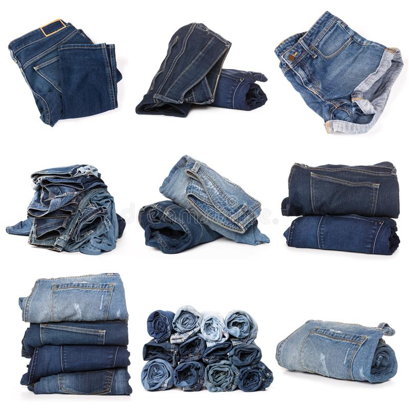 Collage des jeans sur le blanc photos stock