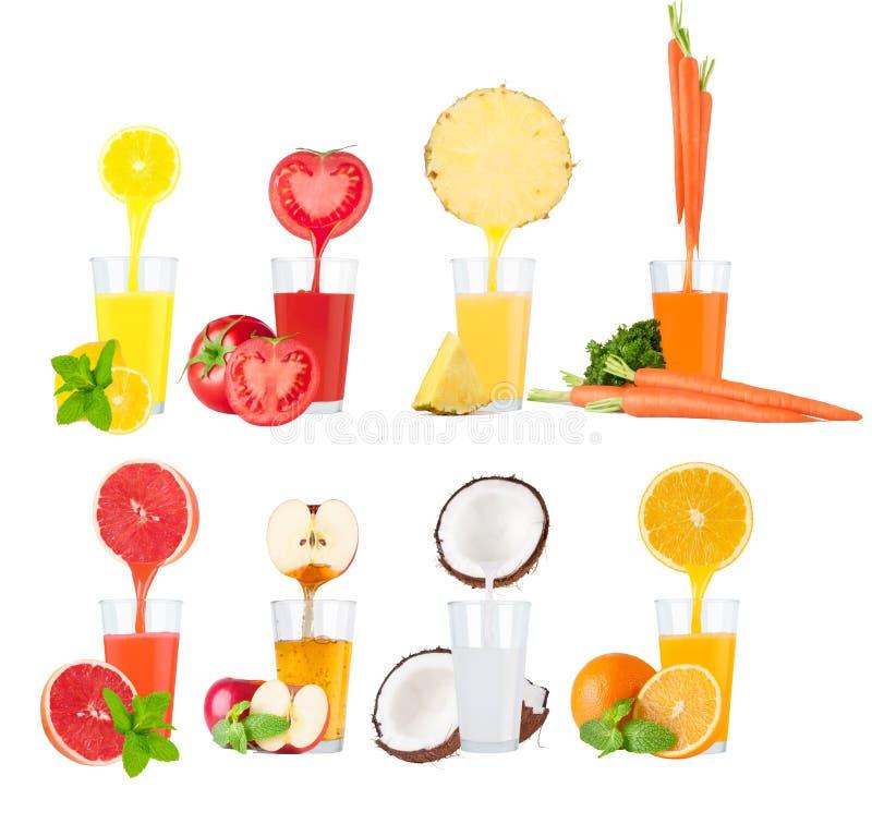 Collage des jus de fruit frais sur le fond blanc photo libre de droits