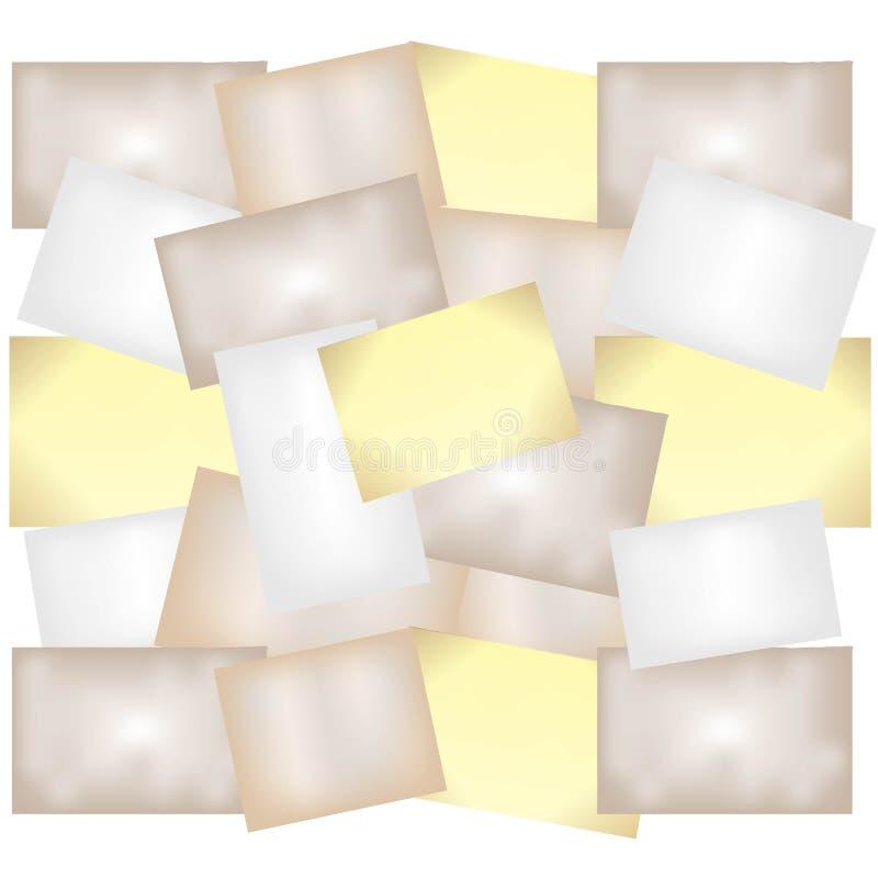 Collage des leeren alten zerknitterten Papierblechschrotts lizenzfreie abbildung