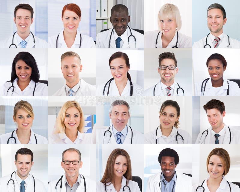 Collage des médecins de sourire photographie stock libre de droits