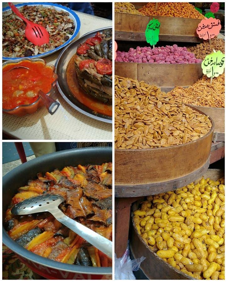 Collage des nourritures du Moyen-Orient en Jordanie photos stock