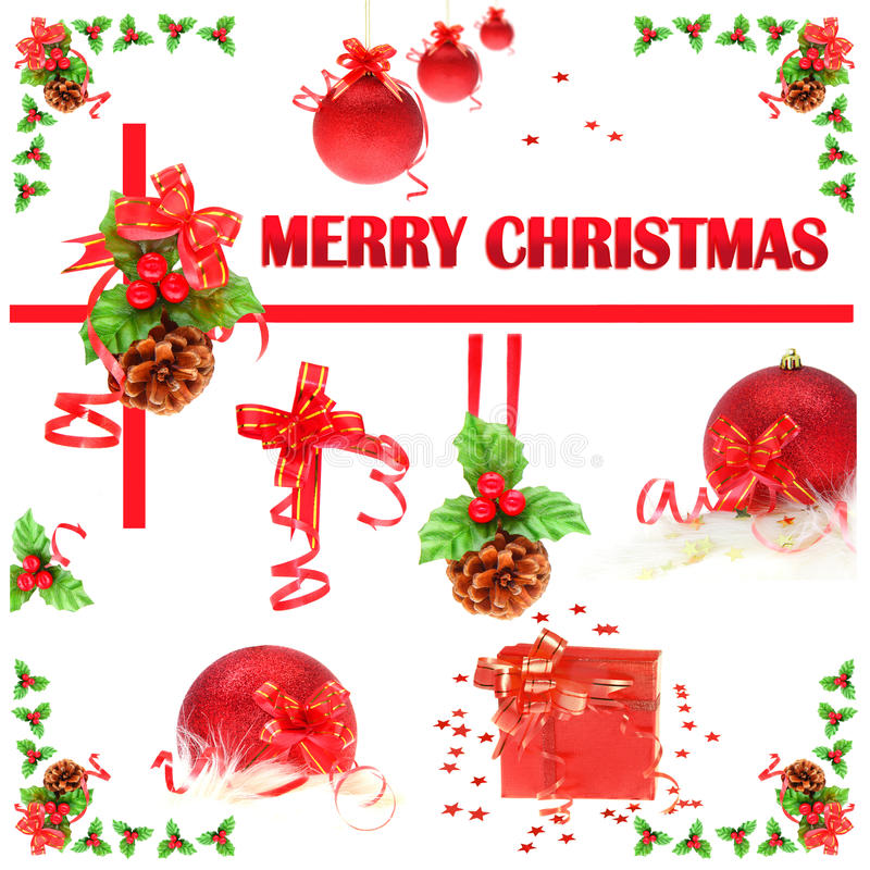 Collage des ornements de Noël images libres de droits