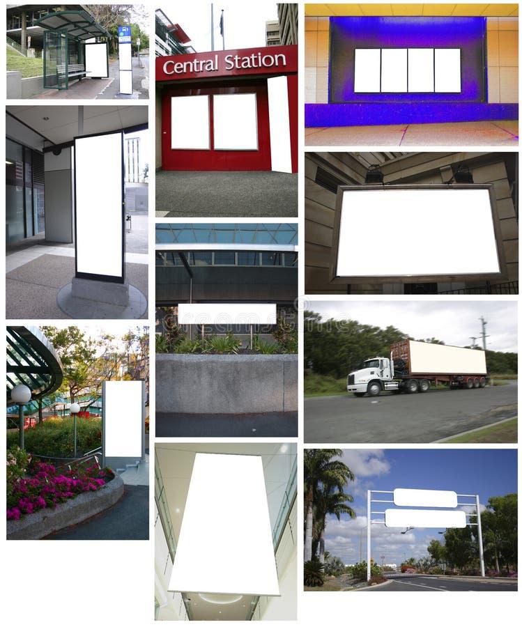 Collage des panneaux-réclame images libres de droits