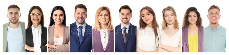 Collage des personnes de sourire sur le fond blanc photos libres de droits