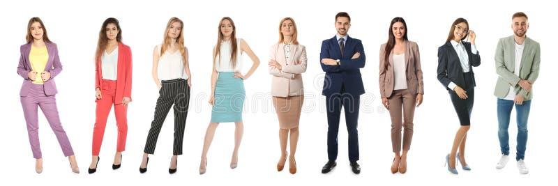Collage des personnes sur le fond blanc photographie stock libre de droits
