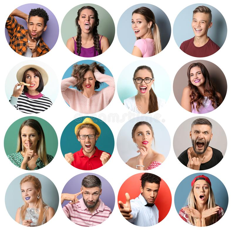 Collage des photos avec différentes personnes émotives sur le fond blanc photos libres de droits