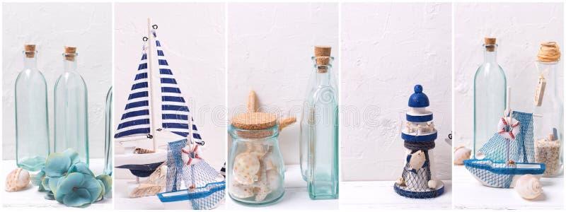 Collage des photos avec l'océan, la mer ou le decoratio vivant côtier photo libre de droits