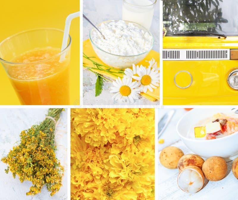 Collage des photos dans des couleurs jaunes images stock