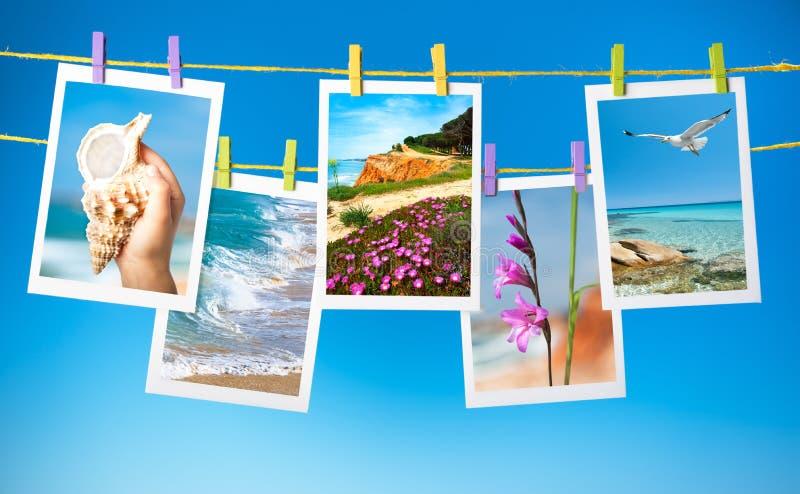 Collage des photos de voyage accrochant sur des cordes photographie stock