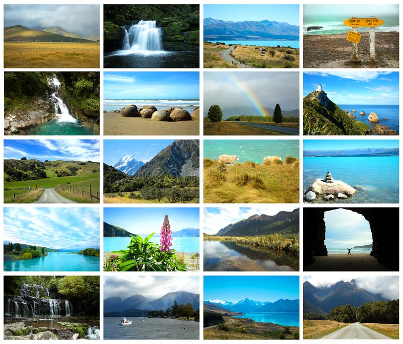 Collage des photos du Nouvelle-Zélande image stock
