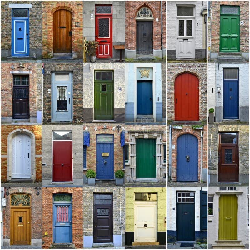 Collage des portes colorées à Bruges, Belgique image libre de droits