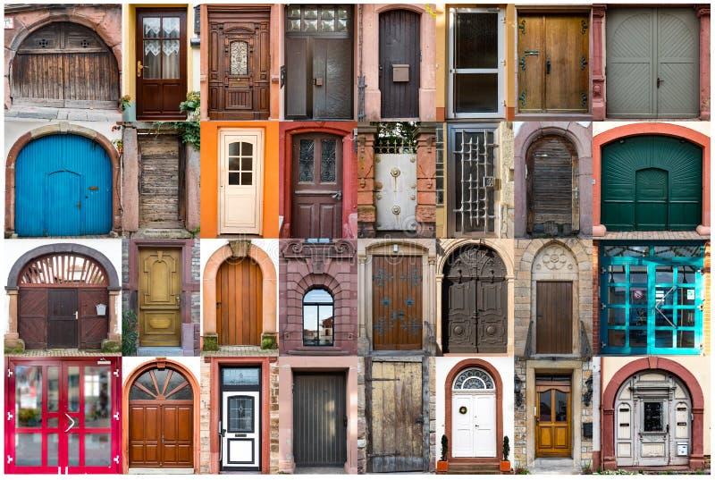 Collage des portes européennes de différentes tailles photographie stock libre de droits